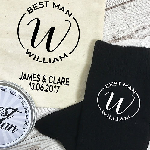 Best Man Mongram Personalised Socks, Tin and Bag