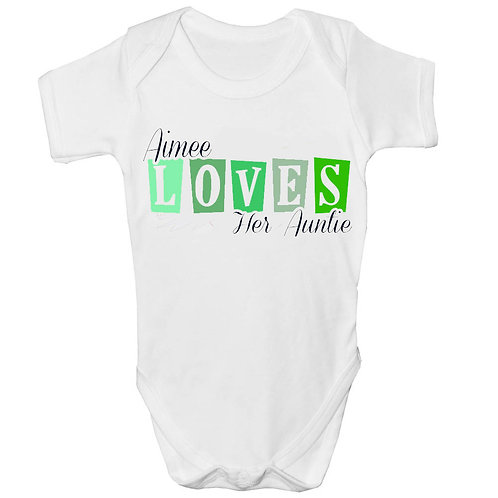 Beautiful Loves Auntie Personalised Baby Grow