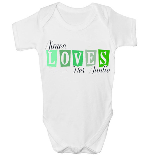 Beautiful loves auntie personalised baby grow personalised wedding personalised baby grow for the little one our loves auntie design is perfect as a gift for the newborn family member please choose our size and leave your negle Gallery
