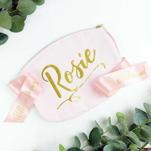 Wedding Proposal Make Up Bag Pink