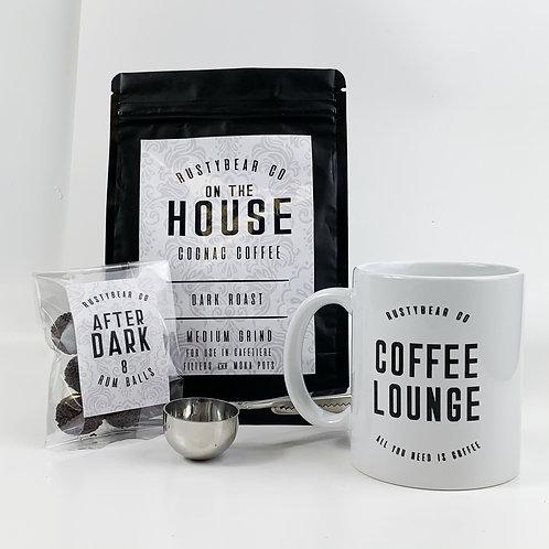 The Coffee Lounge Box   Cognac Coffee, Mug, Rum Balls and Coffee Clip Spoon