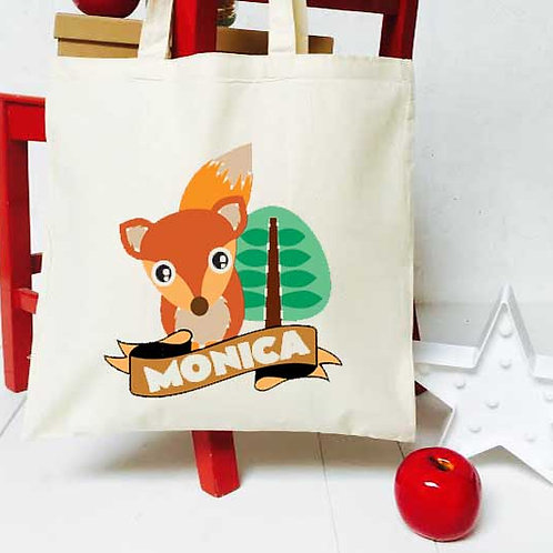 Personalised clever little fox teacher tote bag