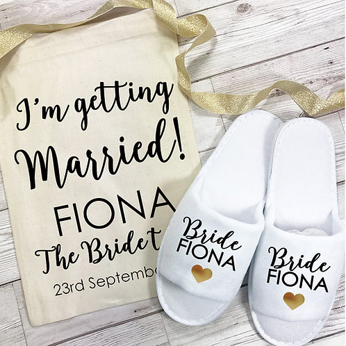Bride to be slipper and cotton bag set.