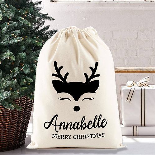 Christmas reindeer santa sack, personalised gift bag, nursery decor.