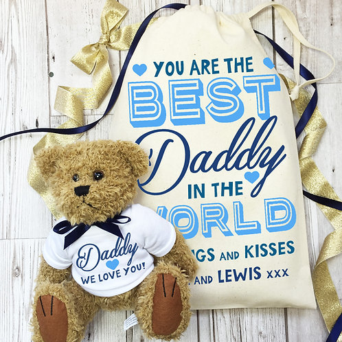 Father's Day Teddy bear with gift bag.