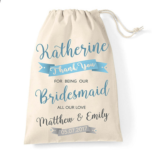 Bridesmaid wedding favour bag.