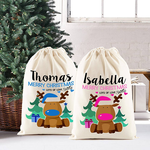 Personalised Christmas Santa Sack, pink or blue reindeer.