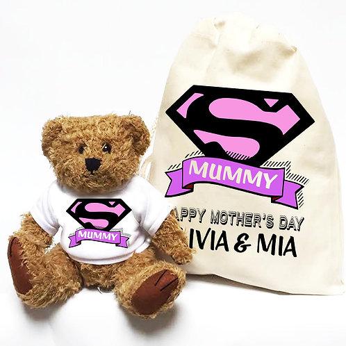 Personalised Super Hero Mummy Bear
