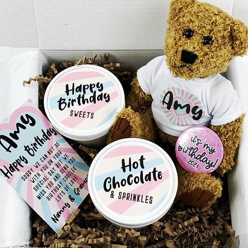 Birthday Cuddle Box | Teddy Bear, Hot Chocolate & Sweets