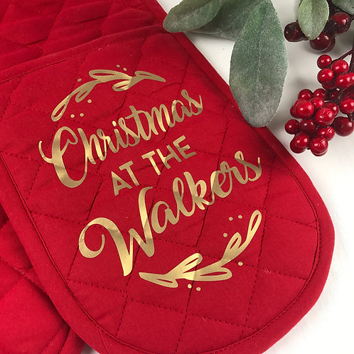 Personalised Family Kitchen Oven Gloves