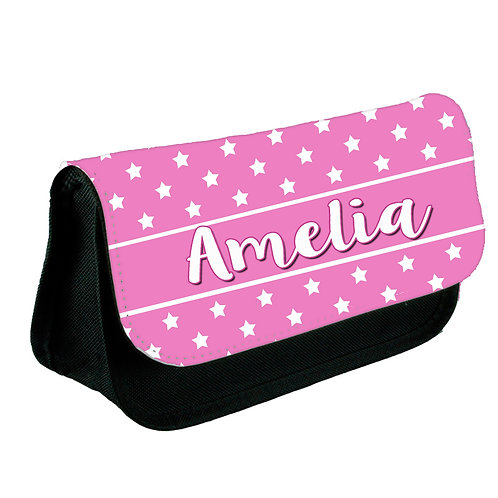 Pencil case personalised with little stars.