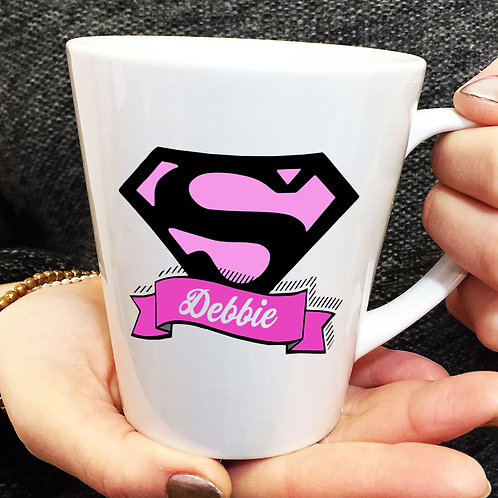Pink Superhero Teacher latte mug