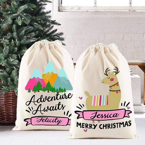 Santa Sack for Christmas, personalised Llama or adventure design.