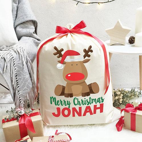 Christmas Santa Sack cute reindeer.