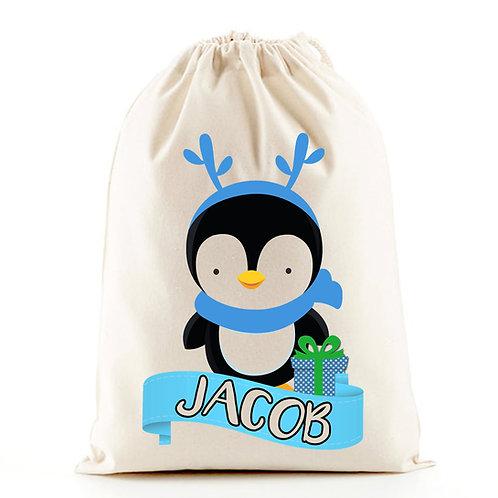 Boys penguin santa sack Christmas stocking bag.