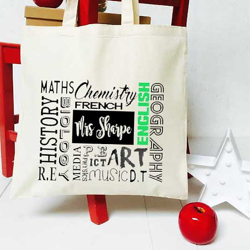 Personalised 'Lessons' teacher tote bag