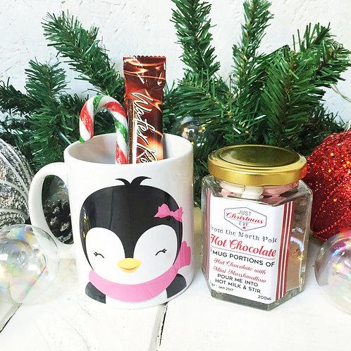Cute PENGUIN mug and luxury hot chocolate gift set