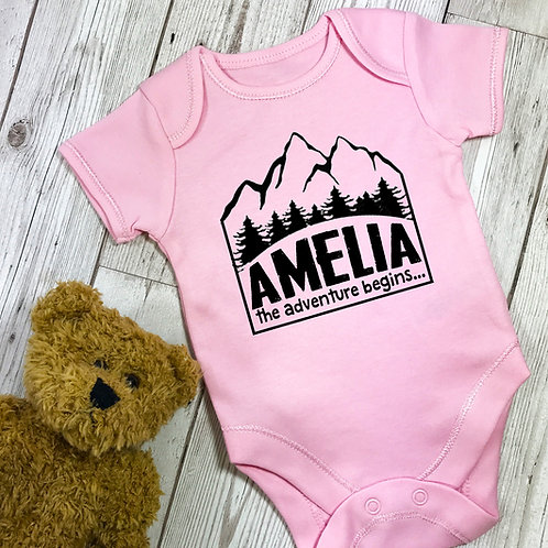 The Adventure Begins Personalised Baby Grow Vest Pink