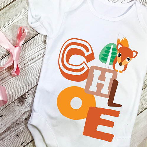 Clever Fox Personalised Baby Grow Vest
