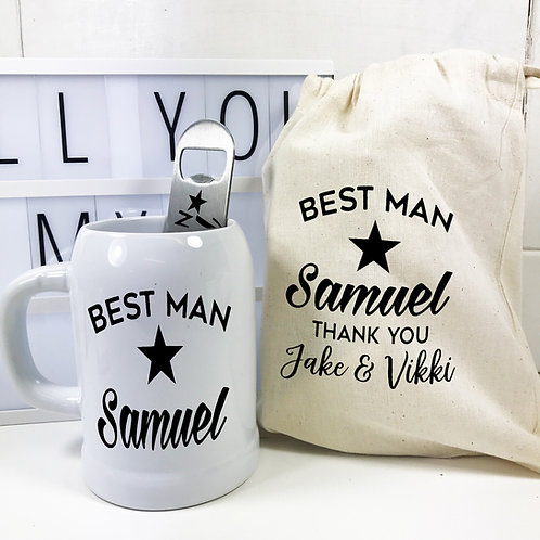 Best Man Wedding Day Thank You Beer Stein Gift Set