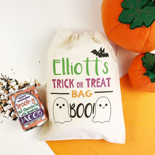 Halloween hot chocolate with trick or treat bag gift set.