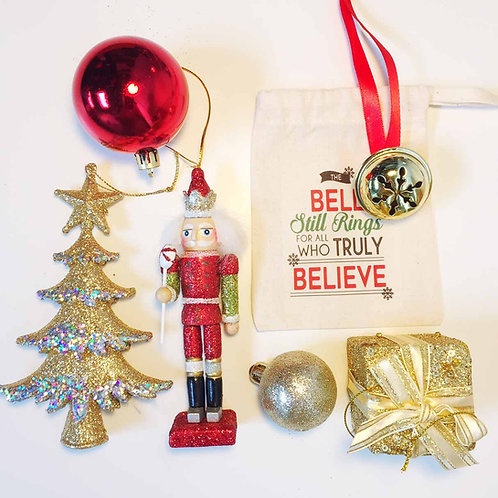Red glittery nutcracker Christmas tree decoration gift set