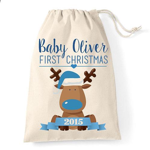 Baby Boy First Christmas Santa Sack Gift Bag