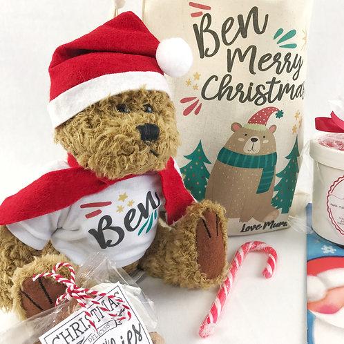 Personalised Christmas Bear Gift Set