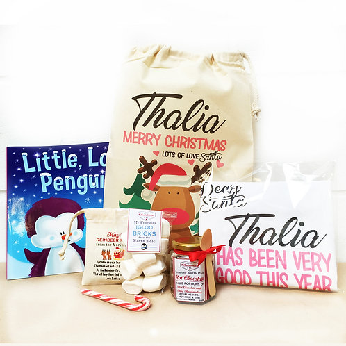 Girl's Personalised Christmas Eve pre filled gift bag.