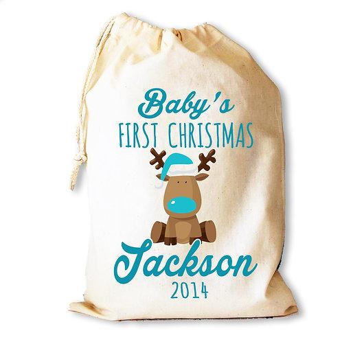 Baby Boy 1st Christmas Reindeer sack