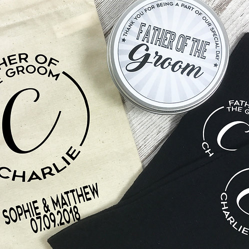 Father of the Groom Mongram Personalised Socks, Tin and Bag