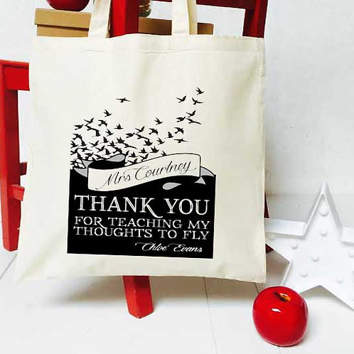 Personalised thoughts to fly teacher tote bag