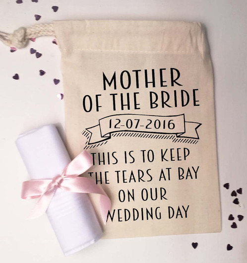 mother of the bride gift bag and handkerchief