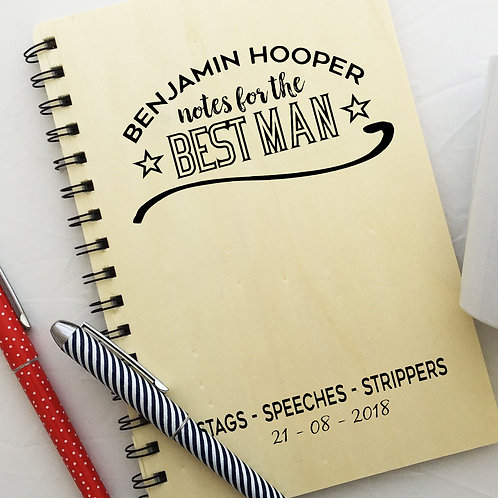 Personalised Wooden Stag Party Notes Planner Best Man