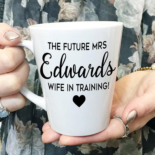 Future Mrs personalised bride to be ceramic mug.