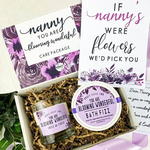 Mother's Day candle and bath fizz gift set. Self care kit for Mum or  Nanny