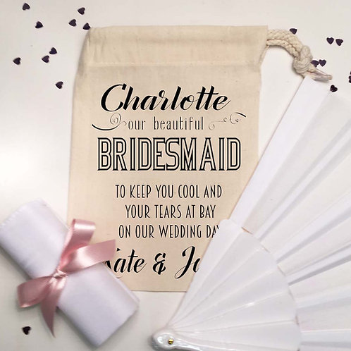 Bridesmaid Pre Filled bag with fan and hanky