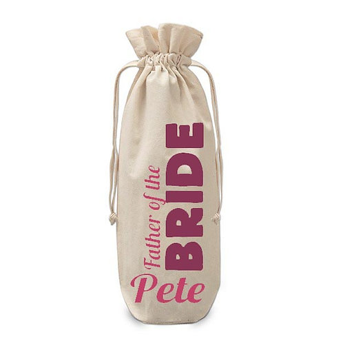 Personalised Father of the Bride Wine Bag