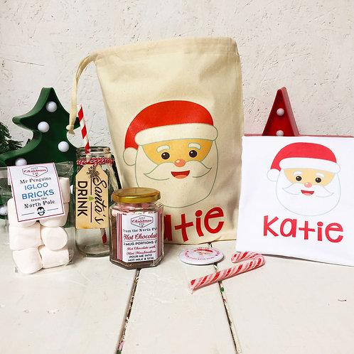 Personalised Santa PRE FILLED Christmas Eve bag and T shirt set