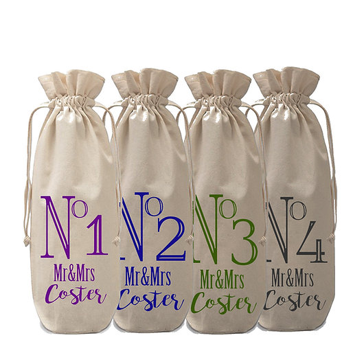 Personalised Wine Bottle Bag Table Numbers x 4