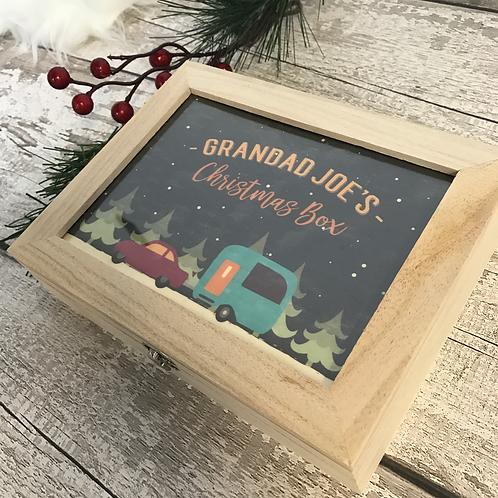 Christmas Wooden Box Personalised Caravan Design