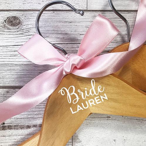 Wooden coat hanger for the Bride.