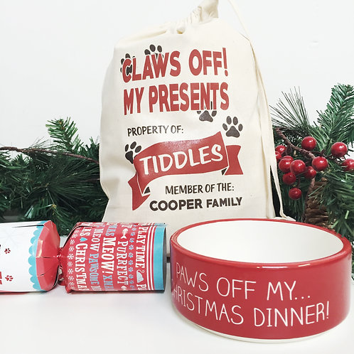Christmas stocking for your pet CAT with bowl