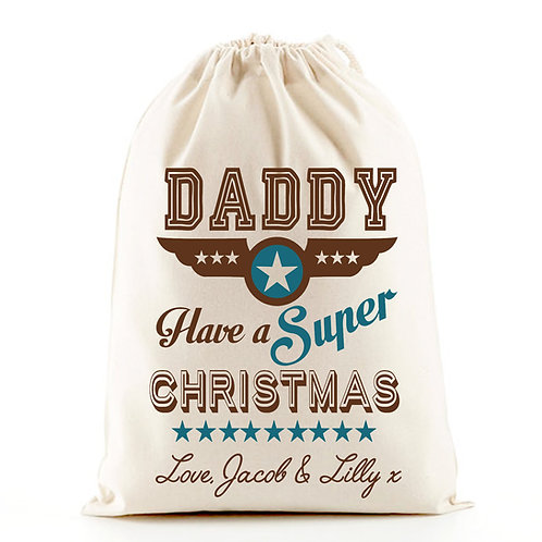 Daddy Christmas gift bag santa sack.