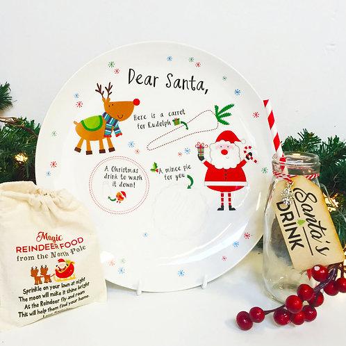 Christmas Eve ceramic plate, Santa's drink bottle & reindeer food