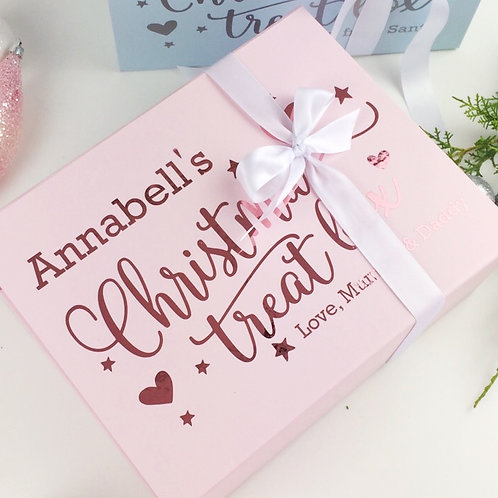 Personalised Christmas Eve treat box in pink
