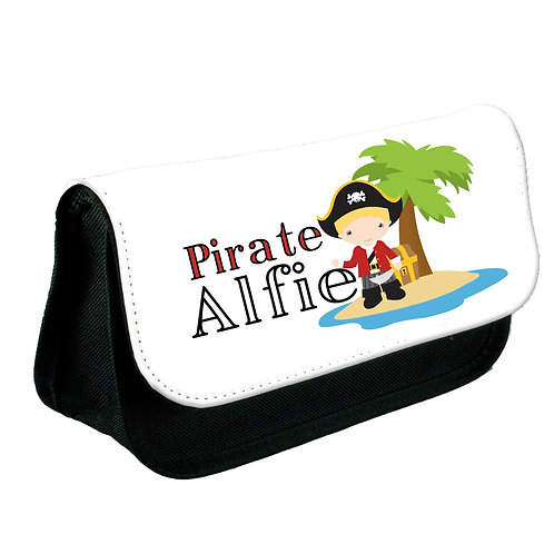 Pencil case for a pirate personalised.