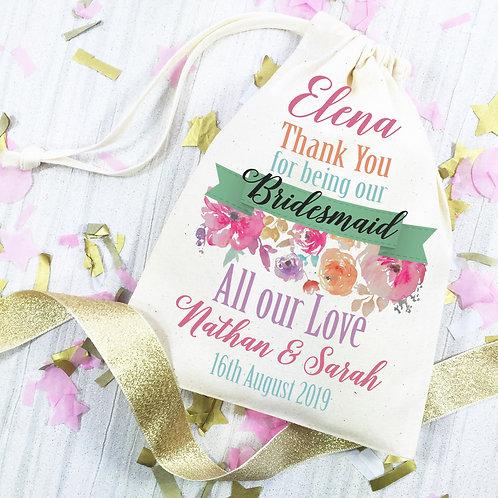 Bridesmaid gift bag. Rainbow flower wedding bag.