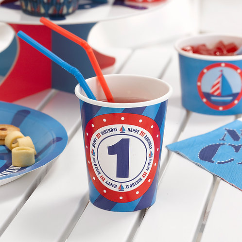 Baby boy 1st birthday paper cups.