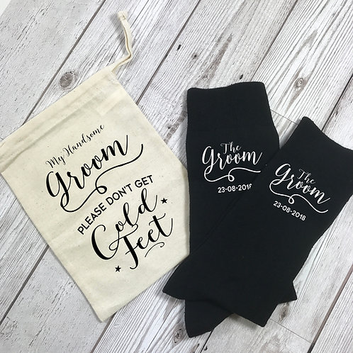 Personalised Groom Socks with Gift Bag Cold Feet